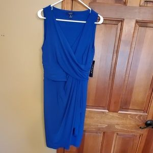 Blue Chaps dress, side ruffle, faux wrap, size L